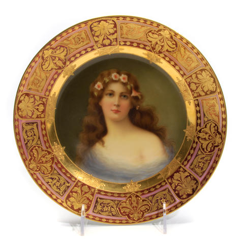 A Vienna style porcelain cabinet plate: Winde
