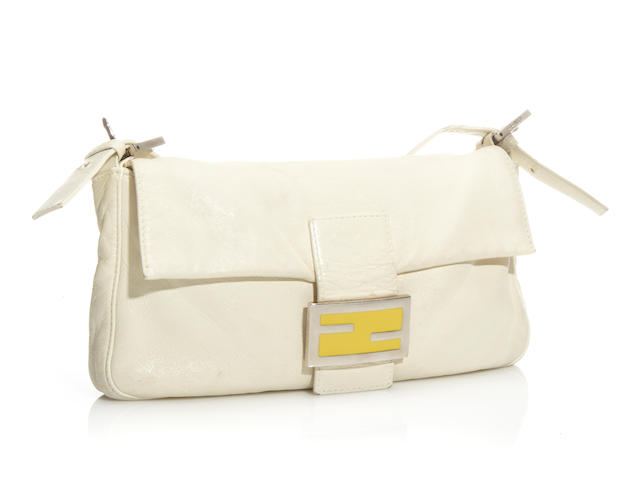 A Fendi white leather baguette