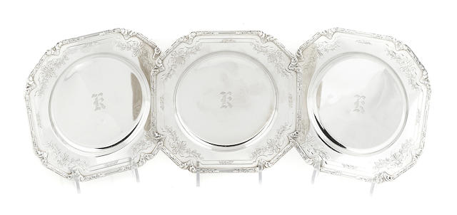 A set of twelve American  sterling silver square bread plates Shreve & Co., San Francisco,  early 20th century