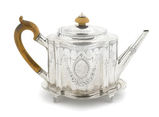 A George III sterling silver teapot and stand, Thomas Daniell, London, 1786