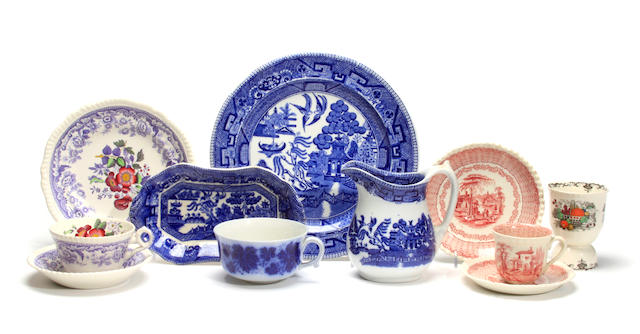 A collection of English porcelain and earthenware dinner and tea ware