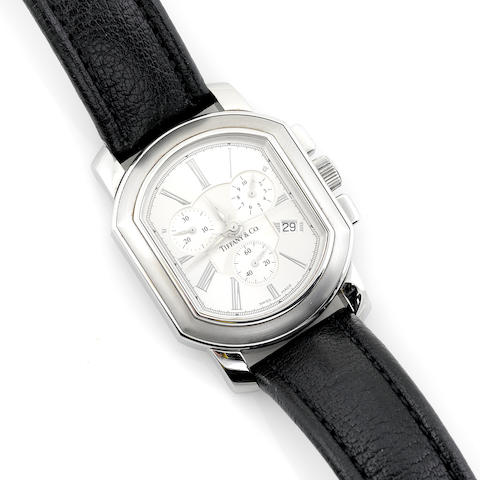 A stainless steel chronograph date wristwatch with leather strap, Tiffany & Co.
