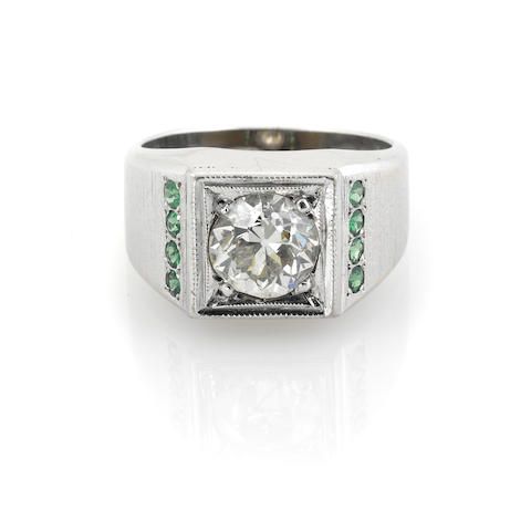 A diamond, tsavorite garnet and rhodium-plated 14k gold ring