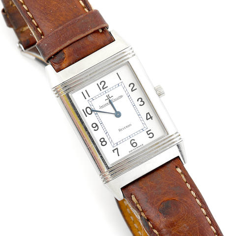 A stainless steel wristwatch with leather strap, Jaeger LeCoultre