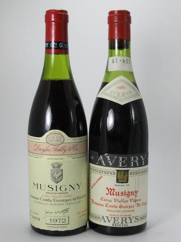 Musigny, Cuvee Vieilles Vignes, Comte de Vogüé (Avery bottling) 1961 (1)<BR />Musigny, Cuvee Vieilles Vignes, Comte de Vogüé 1972 (4)