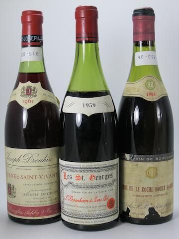 Nuits-Saint-Georges, Les St. Georges 1959 (4)<BR />Romanée-St-Vivant  1961 (1)<BR />Clos de la Roche 1964 (2)<BR />Nuits-Saint-Georges 1966 (4)