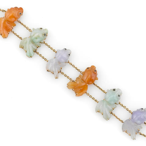 A multi-color jade and 14k gold butterfly-tail goldfish bracelet