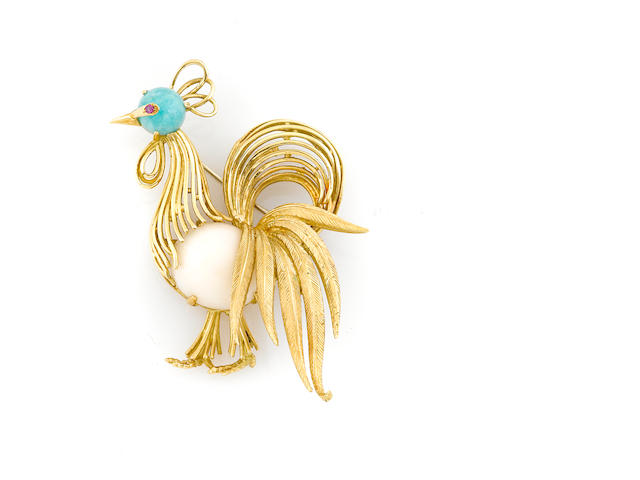 A white coral, chrysocolla-in-chalcedony, ruby and 18k gold rooster brooch