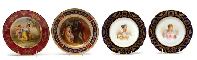 A group of four Continental porcelain cabinet plates