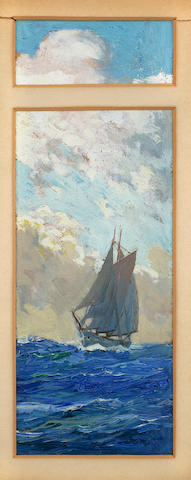 Anton Otto Fischer (American, 1882-1962) A Shot - a schooner at sea<BR /> 9 x 3-1/4 in. (22.8 x 8.2 cm.)