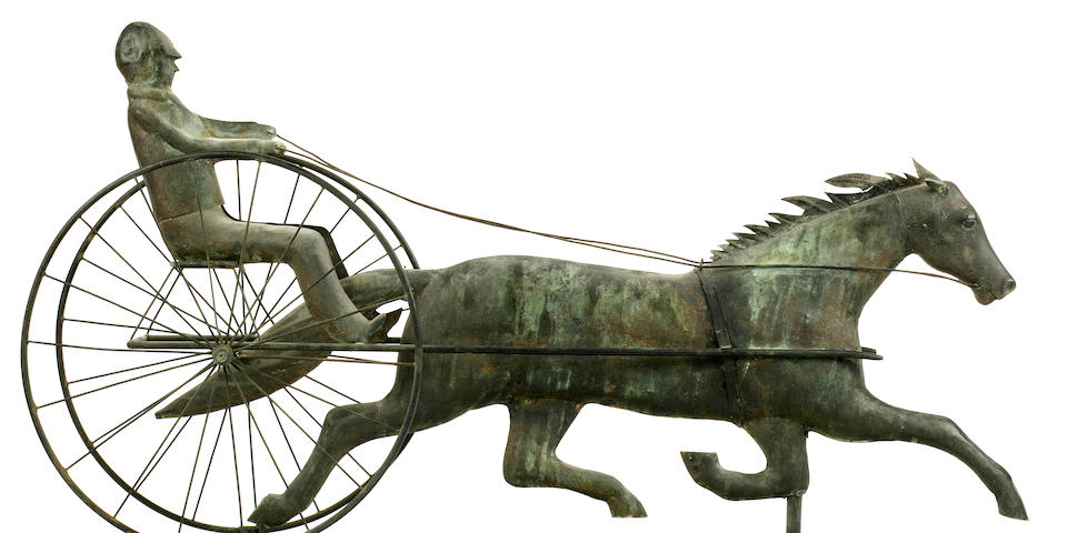 A molded and sheet copper horse and sulky weathervane<BR />Attributed to A.L. Jewell (w. 1852-1867)<BR />Waltham, Massachusetts<BR />circa 1852-1867