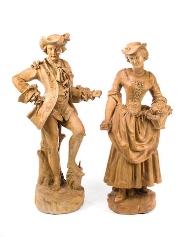A pair of large French terracotta figures<BR />mid-late 19th century