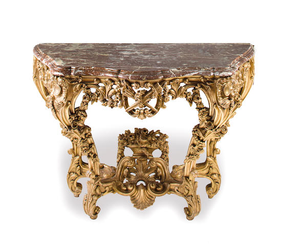 Louis XV giltwood console with marble top