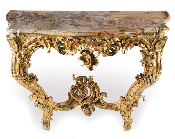 A Louis XV style giltwood console with an Escalettes Alpha marble top<BR />early-mid 19th century