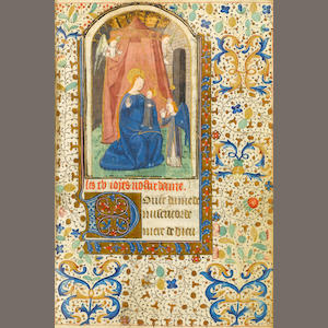 (Book of Hours) HORAE BEATAE VIRGINS. XV Century. 210 leaves. Hand illuminated on vellum. 10 minatures, plus 4 full illuminated pages with floral borders. Small illuminated capitals in gold. Later leather, damaged and waterstained. Pages are a bit wavy, from dampness, some mold to a couple of the first leaves, but paintings still nice. Spine cracked.