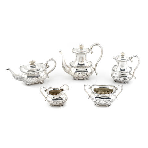 A Canadian sterling silver five piece tea and coffee service by Henry Birks & Sons, Ltd., Montreal & Quebec, 1952-1954