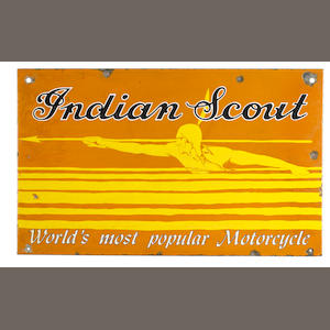 A rare Indian Scout 'World's most Popular Motorcycle' double-sided enamel sign,