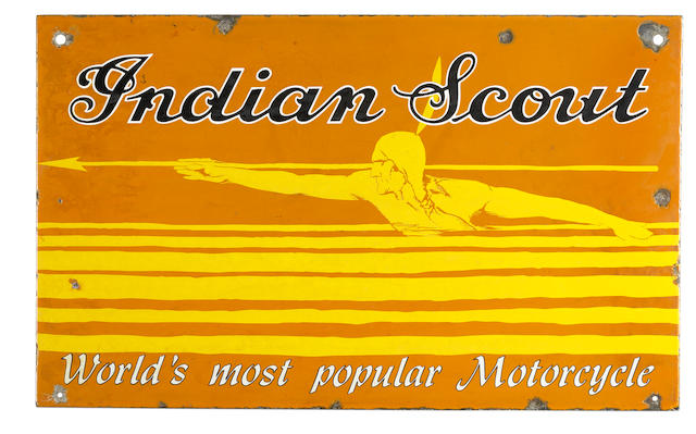 An Indian Scout 'World's Most Popular Motorcycle' double-sided enamel sign,