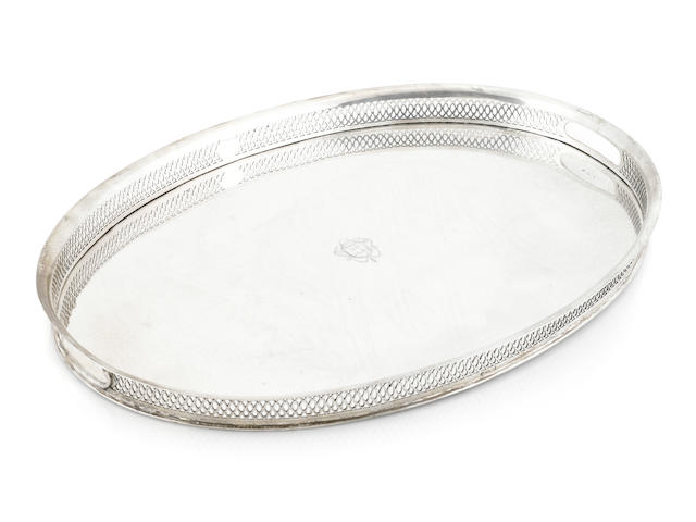 An Italian 800 standard silver oval galleried tray probably Venice, mid-19th century