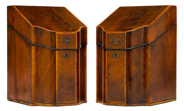 A pair of George III inlaid mahogany knife boxes <BR /> late 18th century