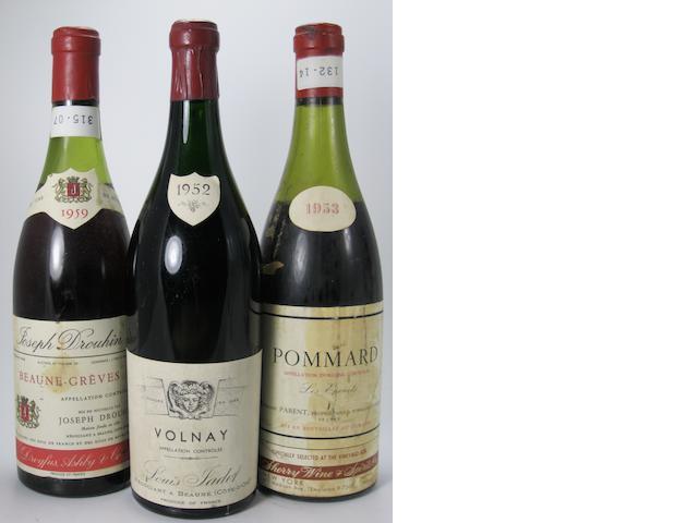 Volnay 1952 (3)<BR />Volnay 1952 (3)<BR />Hospices de Beaune, Pommard, Cuvee Dames de la Charite  1953 (1)<BR />Pommard, Les Epenots 1953 (1)<BR />Volnay, Les Champans  1953 (1)<BR />Chassagne Montrachet, Les Ruchottes 1957 (1)<BR />Beaune Greves 1959 (1)<BR />Hospices de Beaune, Cuvee Brunet  1962 (1)