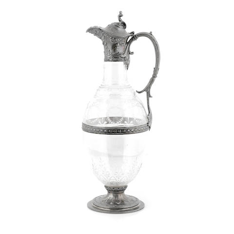 An American sterling silver mounted etched glass claret jug by Gorham Mfg. Co., Providence, RI, 1895