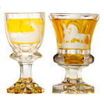 Two Bohemian large amber flashed glass goblets <BR />mid 19th century