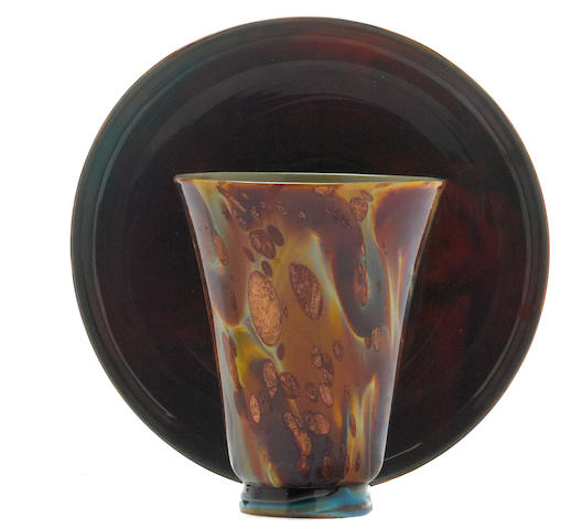 A Venetian calcedonio glass beaker and saucer 17th/18th century