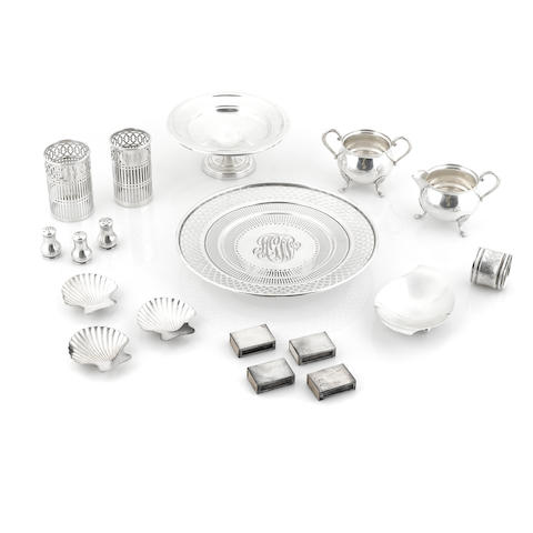 An assembled group of American sterling silver table accessories and articles