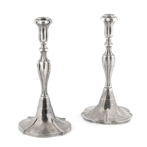 A pair of Mexican sterling silver candlesticks 20th century
