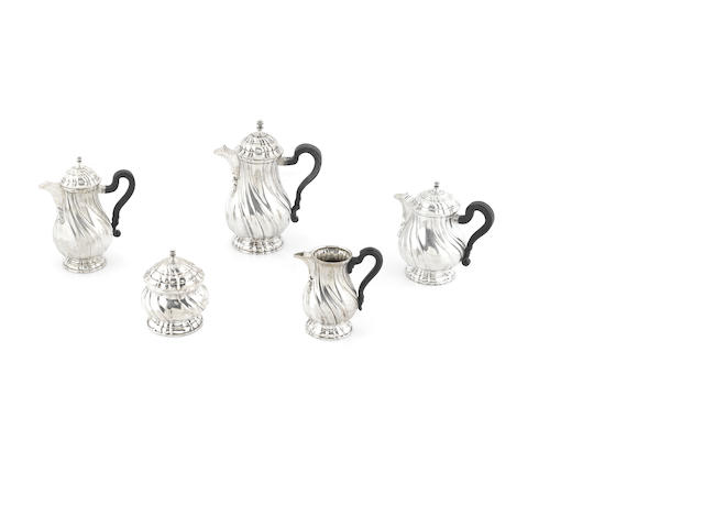 A Continental  800 standard silver  five piece tea and coffee service probably Italian,  20th century