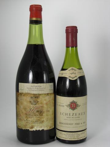 Vosne-Romanée, Antonin Rodet 1959 (1)<BR />Chapelle-Chambertin, Domaine Clair-Daü 1980 (1)<BR />Morey St. Denis, Domaine Dujac 1982 (1)<BR />Echezeaux, Tête de Cuvée, Remoissenet Père et Fils 1969 (1)<BR />Clos Vougeot, Robert Arnoux 1980 (1)<BR />Clos de la Roche, Maison Sichel 1971 (1 magnum)