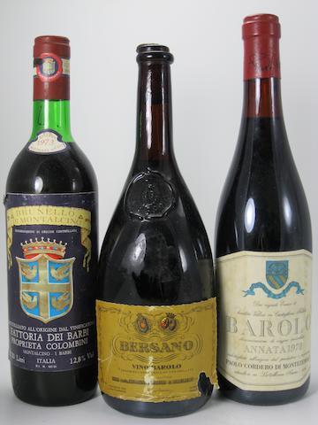 Barolo, Castiglione Falletto 1978 (1)<BR />Barolo 1964 (1)<BR />Brunello di Montalcino 1977 (1)<BR />Brunello di Montalcino Riserva 1973 (1)<BR />Chianti Classico 1980 (1)<BR />Chianti Classico 1981 (1)<BR />Chianti Classico Riserva 1978 (1)<BR />Colli del Trasimeno 1980 (1)<BR />Tignanello 1980 (1)<BR />Vino Dolcetto Amaro, Riserva della Meridiana 1968 (1 magnums)
