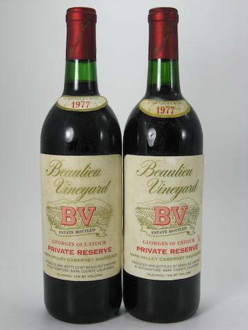 B.V. Cabernet Sauvignon, Rutherford 1977 (4)<BR />B.V. Private Reserve Cabernet Sauvignon 1977 (12)