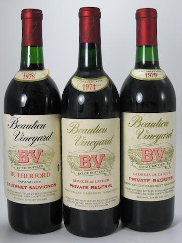 B.V. Cabernet Sauvignon, Rutherford 1978 (1)<BR />B.V. Private Reserve Cabernet Sauvignon 1974 (1)<BR />B.V. Private Reserve Cabernet Sauvignon 1979 (14)