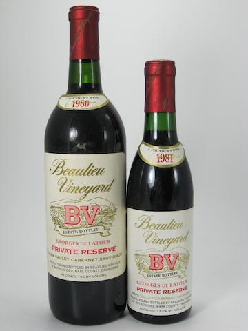 B.V. Cabernet Sauvignon, Rutherford 1980 (6)<BR />B.V. Private Reserve Cabernet Sauvignon 1980 (10)<BR />B.V. Cabernet Sauvignon, Beautour 1981 (1)<BR />B.V. Cabernet Sauvignon, Beautour 1981 (1 half-bottle)<BR />B.V. Private Reserve Cabernet Sauvignon 1981 (4)<BR />B.V. Private Reserve Cabernet Sauvignon 1981 (3 half-bottles)