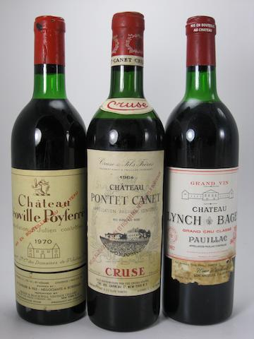 Château Pontet-Canet 1964 (1)<BR />Château Lynch-Bages 1970 (1)<BR />Château Lynch-Bages 1982 (2)<BR />Château Ducru-Beaucaillou 1971 (1)<BR />Château Ducru-Beaucaillou 1980 (3)<BR />Château Léoville-Poyferré 1970 (1)<BR />Château Potensac 1980 (1)<BR />Château Potensac 1981 (2)