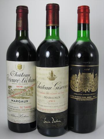 Château Palmer 1979 (1)<BR />Château Giscours 1971 (1)<BR />Château Pichon-Baron 1980 (3)<BR />Château Prieuré-Lichine 1978 (1)<BR />Château Prieuré-Lichine 1979 (1)<BR />Château Lassalle 1981 (1)<BR />Château Bellegrave 1978 (1)<BR />Château Langoa Barton 1976 (1)<BR />Château Gloria 1983 (2)