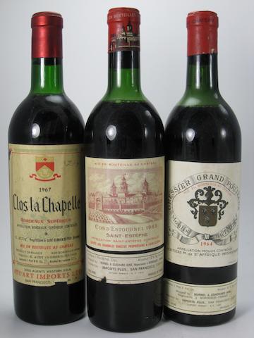 Château Cos d'Estournel 1963 (1)<BR />Château Gressier Grand Poujeaux 1964 (1)<BR />Clos la Chapelle 1967 (1)<BR />Château de la Dauphine 1970 (1)<BR />La Cour Pavillon 1971 (1 magnum)<BR />Château Peymartin 1972 (2)<BR />Château du Moulin-Rouge 1975 (1)<BR />Maitre D'Estournel Blanc 1977 (3)<BR />Château de Lussac 1979 (1)