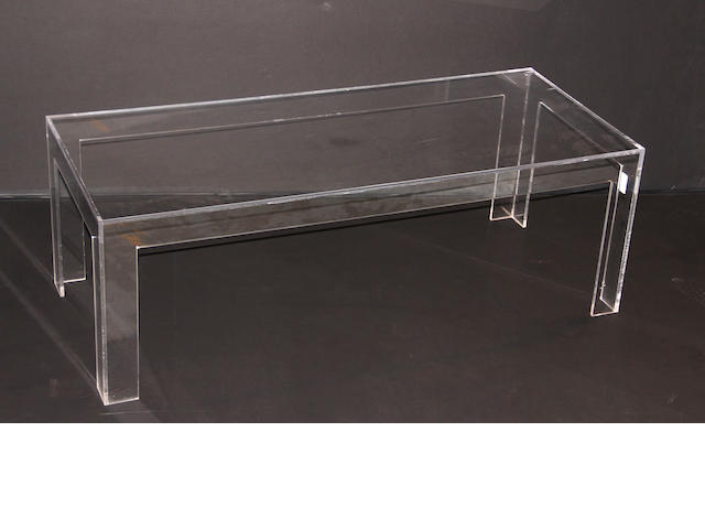 A lucite side table