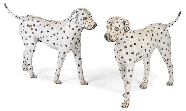 A pair of painted cast iron Dalmatians<BR />Probably Gray Iron Foundry, Poultney, Vermont<BR />Circa 1835