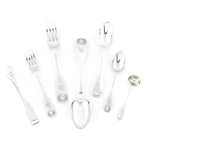 A Victorian  sterling silver  part flatware service for twelve by Chawner & Co (George William Adams), London,   1852