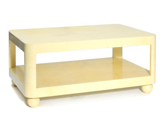 A Contemporary goat skin clad coffee table