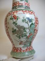 A famille verte enameled porcelain 'phoenix tail' vase 19th century