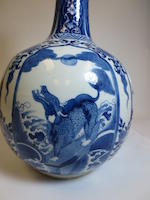 A blue and white porcelain stick-neck vase Kangxi mark, 19th Century
