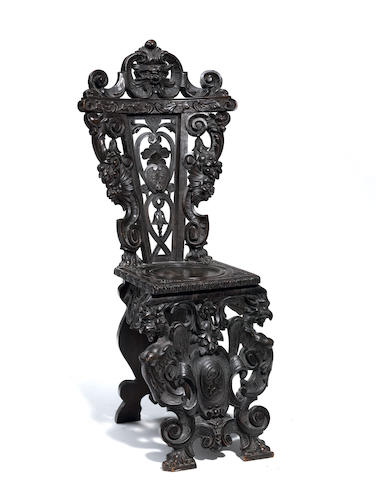 An Italian Renaissance Revival carved walnut side chair
