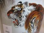 A pair of polychrome enameled porcelain tiger vases Signed Bi Yuanming (1907 - 1990)