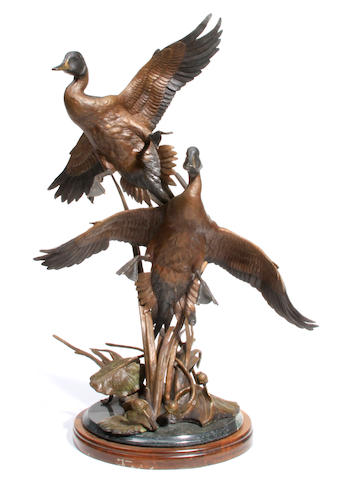 Ronnie Wells, Pintail Pair, signed and numbered '23/40', bronze on wooden base with brown patina height, 36in Ronnie Wells, Pintail Pair, signed and numbered '23/40', bronze on wooden base with brown patina height, 36in