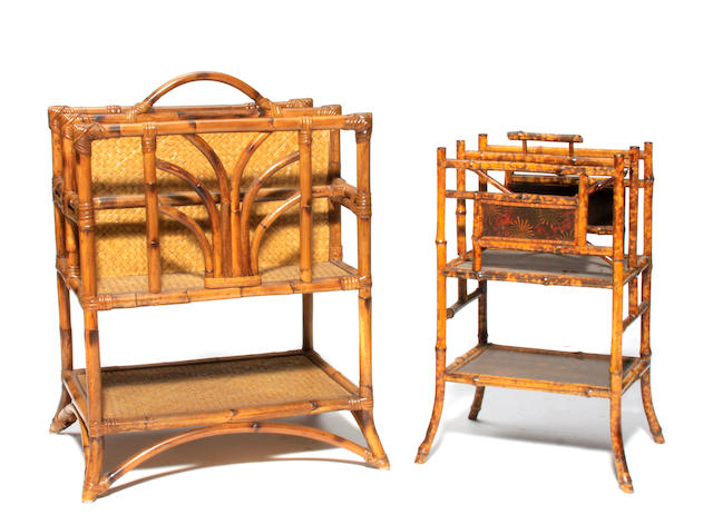 Two Victorian lacquered bamboo canterbury stands