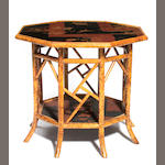 A Victorian lacquered bamboo octagonal table